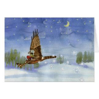 Navidad de hadas del halcón/tarjeta de Yule