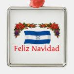 Navidad de Honduras Adorno Cuadrado Plateado