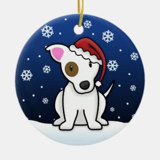 Navidad de Jack Russell Terrier del dibujo animado Adorno Navideño Redondo De Cerámica