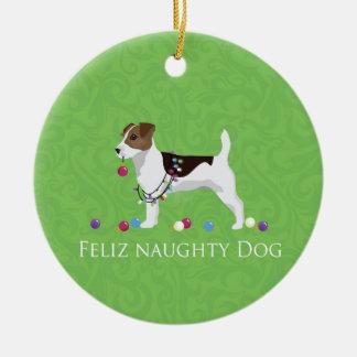 Navidad de Jack Russell Terrier Feliz Naughty Dog Adorno Navideño Redondo De Cerámica