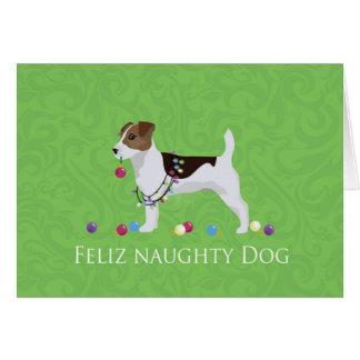 Navidad de Jack Russell Terrier Feliz Naughty Dog Tarjeta De Felicitación