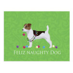 Navidad de Jack Russell Terrier Feliz Naughty Dog Tarjetas Postales