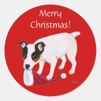 Navidad de Jack Russell Terrier Pegatina Redonda