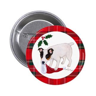 Navidad de Jack Russell Terrier Pin Redondo De 2 Pulgadas