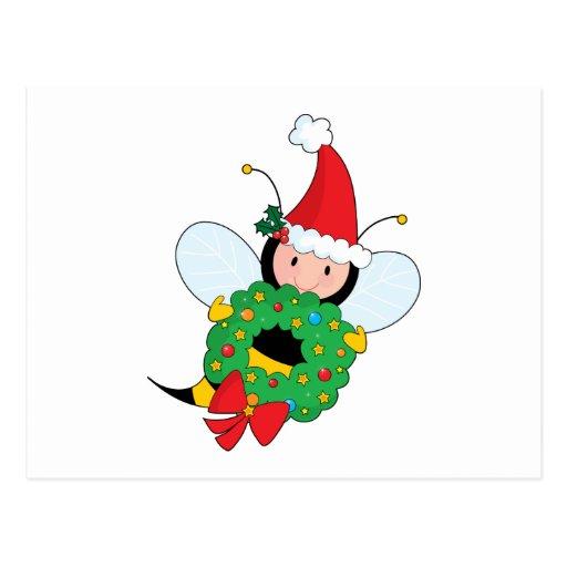 Navidad de la abeja tarjeta postal