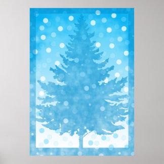 Navidad de la acuarela del árbol del invierno impresiones