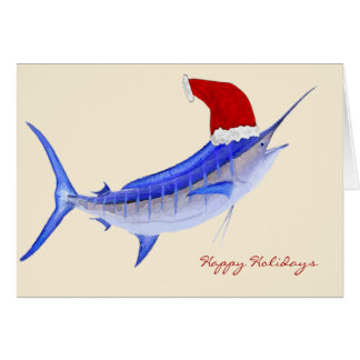 Navidad de la aguja azul de Santa Tarjeta De Felicitación