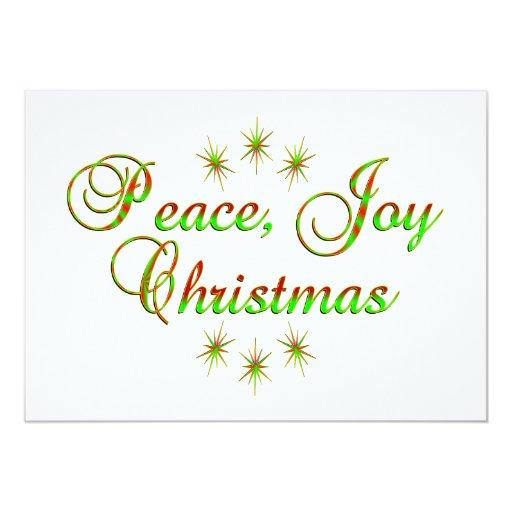 Navidad de la alegría de la paz invitación 12,7 x 17,8 cm