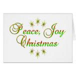 Navidad de la alegría de la paz tarjeton