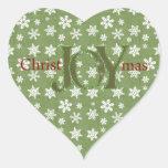 Navidad de la alegría verde y copos de nieve blanc pegatinas de corazon personalizadas