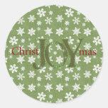 Navidad de la alegría verde y copos de nieve blanc pegatinas redondas