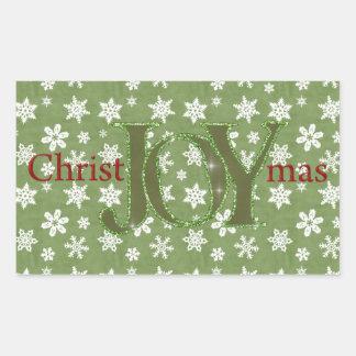 Navidad de la alegría verde y copos de nieve rectangular pegatina