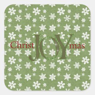 Navidad de la alegría verde y copos de nieve calcomanía cuadradas personalizadas