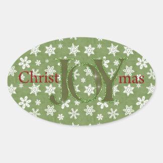 Navidad de la alegría verde y copos de nieve calcomanía de ovaladas