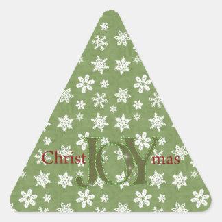 Navidad de la alegría verde y copos de nieve colcomanias trianguladas personalizadas