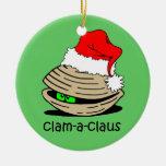 navidad de la almeja adorno redondo de cerámica
