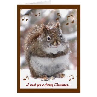Navidad de la ardilla del canto tarjeta de felicitación