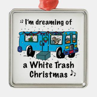 Navidad de la basura blanca ornamento de navidad