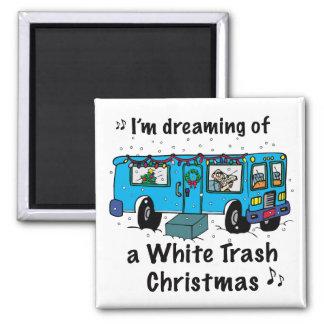 Navidad de la basura blanca iman para frigorífico