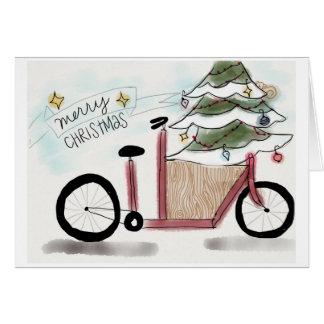 Navidad de la bici del cargo tarjeta pequeña