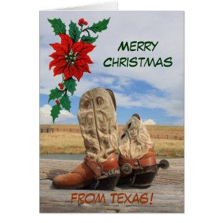 Navidad de la bota occidental de Tejas Felicitaciones
