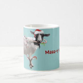 Navidad de la cabra taza básica blanca