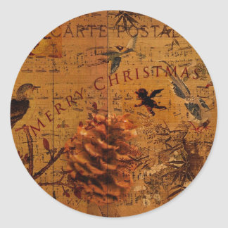 Navidad de la canción del pájaro pegatina redonda