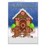 Navidad de la casa de pan de jengibre y de la fami felicitacion