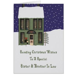 Navidad de la casa de Primsy de la hermana y del c Tarjetas