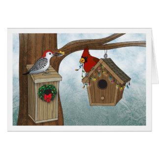 Navidad de la casa del pájaro tarjeta de felicitación