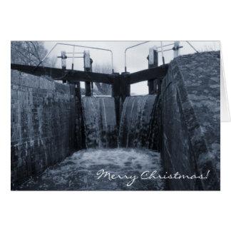 Navidad de la cerradura del canal tarjeta de felicitación