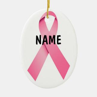Navidad de la cinta del rosa del cáncer de pecho adorno navideño ovalado de cerámica