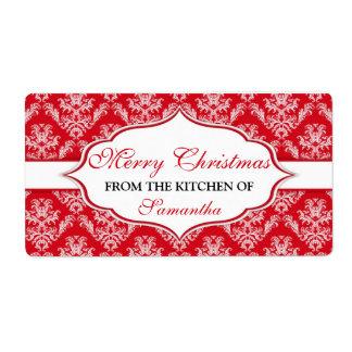 Navidad de la cocina de las etiquetas personalizad etiquetas de envío