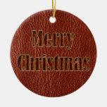 Navidad de la Cuero-Mirada rojo Adornos