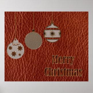 Navidad de la Cuero-Mirada rojo Posters