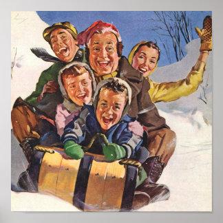 Navidad de la diversión de la nieve del trineo póster