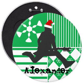 Navidad de la estrella del rock de Santa que almac Pin Redondo De 6 Pulgadas
