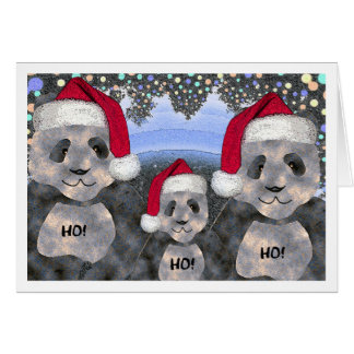 Navidad de la familia de la panda tarjeta de felicitación
