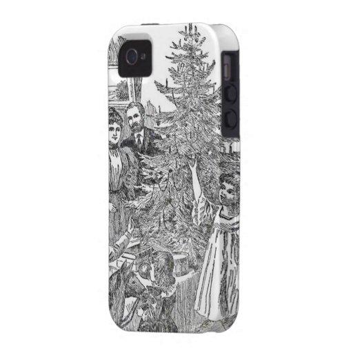 Navidad de la familia del vintage iPhone 4 funda