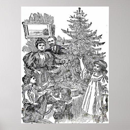 Navidad de la familia del vintage póster