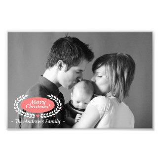 Navidad de la familia que saluda en blanco y negro fotografías