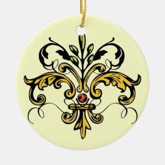Navidad de la flor de lis adorno navideño redondo de cerámica