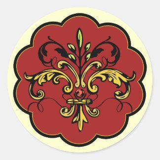 Navidad de la flor de lis pegatinas redondas