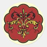 Navidad de la flor de lis pegatina redonda