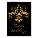 Navidad de la flor de lis tarjeta de felicitación