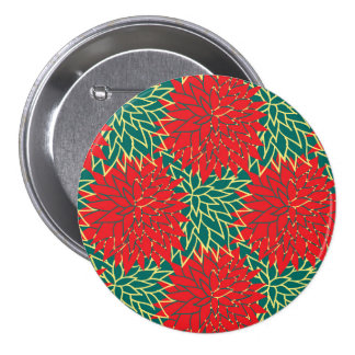 Navidad de la flor pin redondo de 3 pulgadas