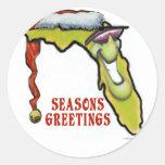 Navidad de la Florida Pegatina Redonda