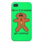 navidad de la galleta del hombre de pan de jengibr iPhone 4 cobertura