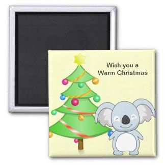 Navidad de la koala imán cuadrado