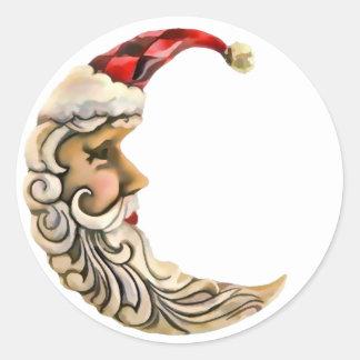 Navidad de la luna de Santa Pegatina Redonda